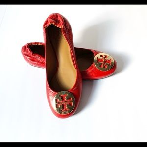 Tory Burch Reva Red Leather Flats